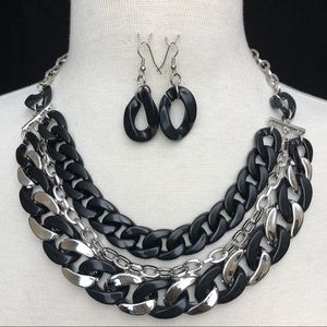 Black Silver 3 Row Chunky Chain Necklace Set